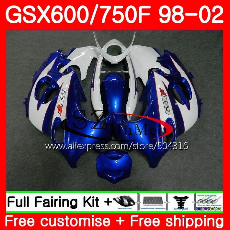 Белый синий корпус для SUZUKI KATANA 98 99 00 01 02 GSXF750 GSX600F GSXF 600 750 28SH6 GSXF600 1998 1999 2000 2001 2002 обтекатели