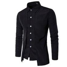 Mode 2020 mode hommes Gentleman britannique à manches longues chemise robe de soirée outillage fermeture éclair chemise hommes s décontracté travail chemises