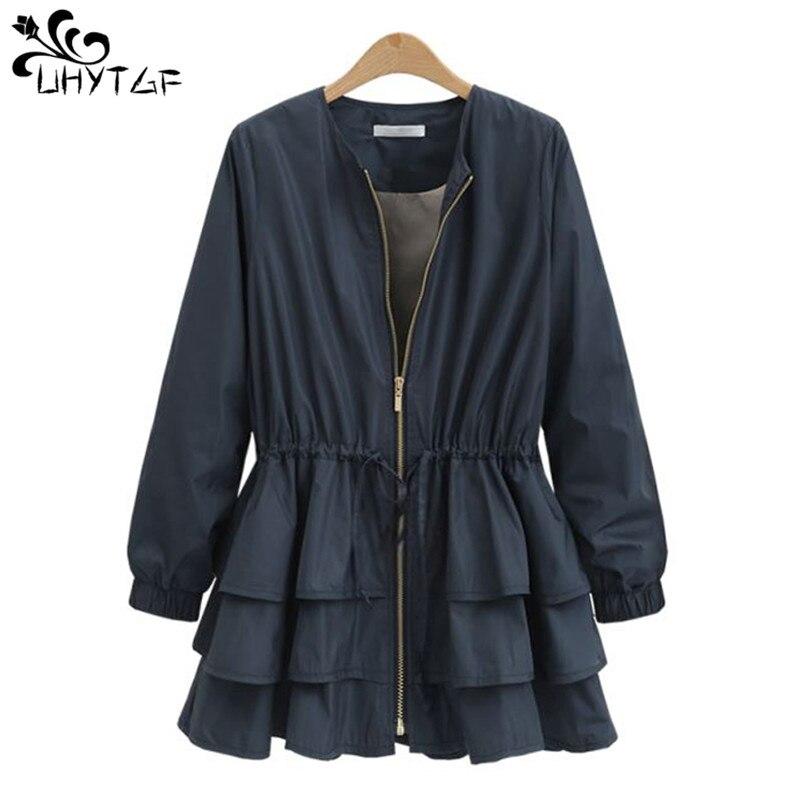 UHYTGF wiosna jesień nowe ubrania damskie 2019 Trench coat dla kobiet moda spódnica Plus rozmiar szczupła wzburzyć trencz luźne top115