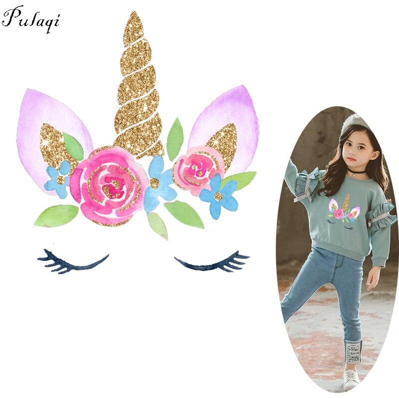 Pulaqi unicornio con flores hierro en las transferencias para la ropa Unicornio en el amor parche transferencia térmica de calor pegatina de vinilo DIY Applique F