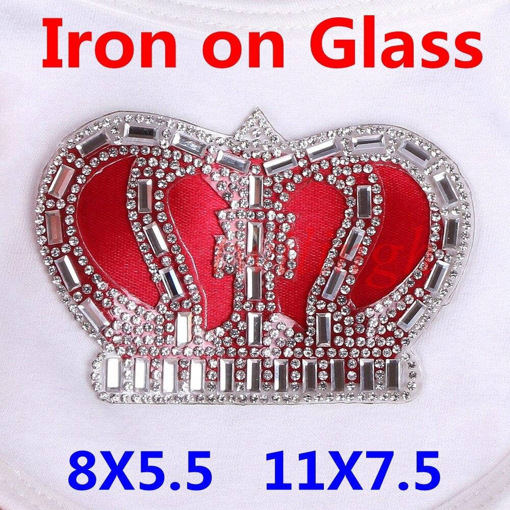 Ferro Em Remendos Coroa Forma Clear White Cristal Rhinestone de Vidro Coroa Engomar Patches para Roupa Do Bebê Recém-nascido Do Bebê Set