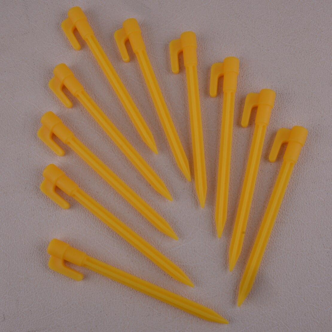LETAOSK, 10 uds, toldo de plástico amarillo para exteriores, para Camping, carpa, estacas, clavos de fijación, resistente
