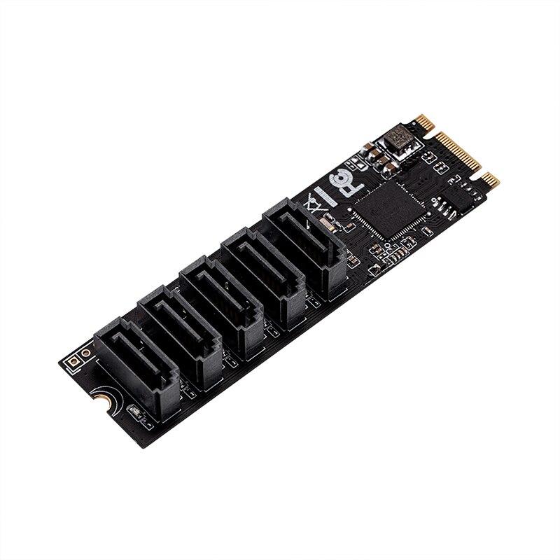 Adaptador H1111Z M2/M2 SSD, adaptador M2 SATA, adaptador de disco duro M2 a tarjeta SATA NGFF M2, adaptador SATA con 5 puertos, tarjeta elevadora SATA3