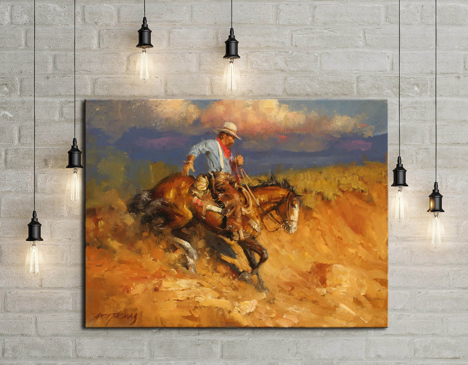 Andy Thomas occidental paisaje estilo vaquero regalo lienzo pintura habitación dormitorio Casa decor moderno arte de la pared pintura al óleo #009