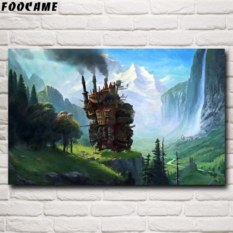 Фотофон с изображением замка хоуля Миязаки Хаяо, аниме-постер, шелковые настенные художественные рисунки, украшения для дома, декоративные картинки