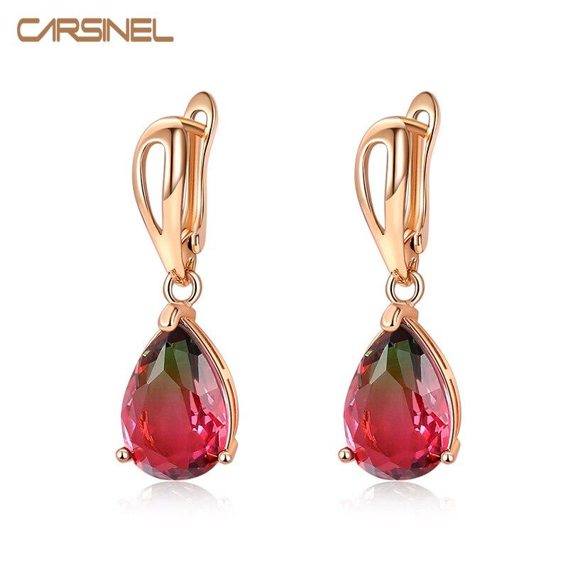 CARSINEL marque Tourmaline couleur goutte deau zircone boucles doreilles pour les femmes de mariage bijoux Bijouterie ER0587