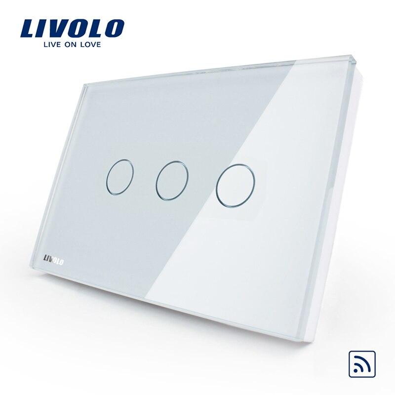 Livolo US/AU Standard, Wireless Switch VL-C303R-81, Crystal Waterproof Glass, Remote 433.92Hz Touch Screen Light Switch