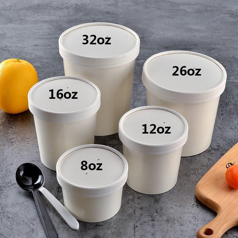 100x8oz, 12oz, 16oz, 26oz, 32oz, 235ml-1050ml, vasos de papel redondo para sopa, tazones desechables para llevar a cabo, comida fría para llevar