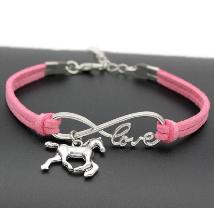 10 unids/lote infinito amor 8 pulsera unicornio/caballo encanto colgante mujeres/hombres pulseras simples/brazaletes joyería regalo N1