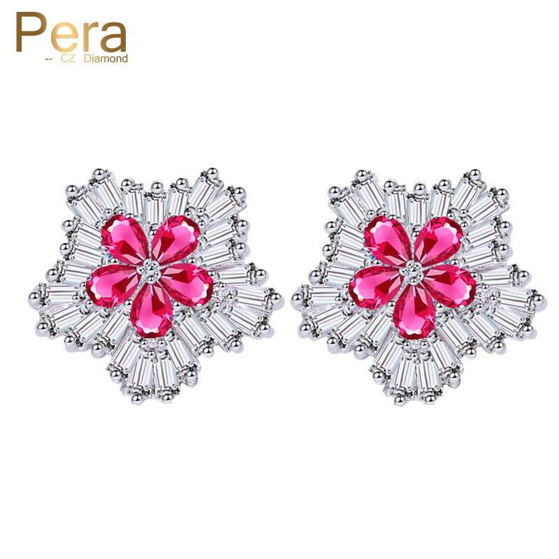 Pera clásico Color plata circonita cúbica cristal cinco pétalos racimo flor Rosa rojo pequeños pendientes grandes con pasador elegante para mujeres E217