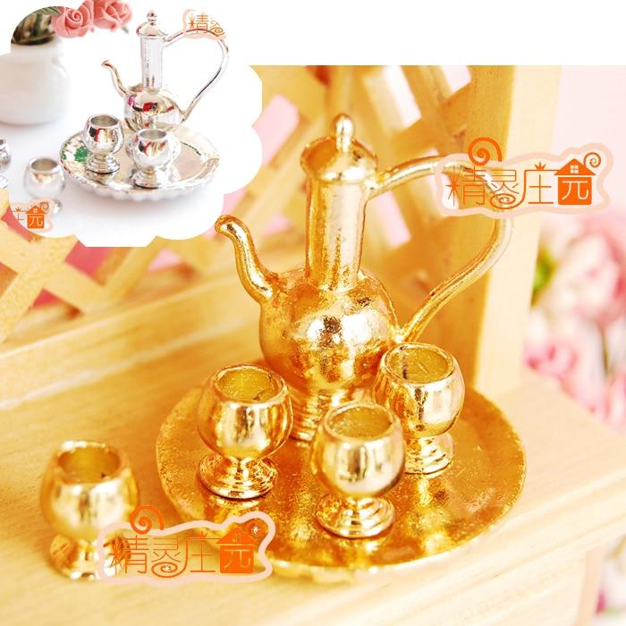G05-X472 juguete de regalo para niños, casa de muñecas 112, minimueble, conjunto de copa de vino en miniatura, color dorado y plateado, 1 Juego