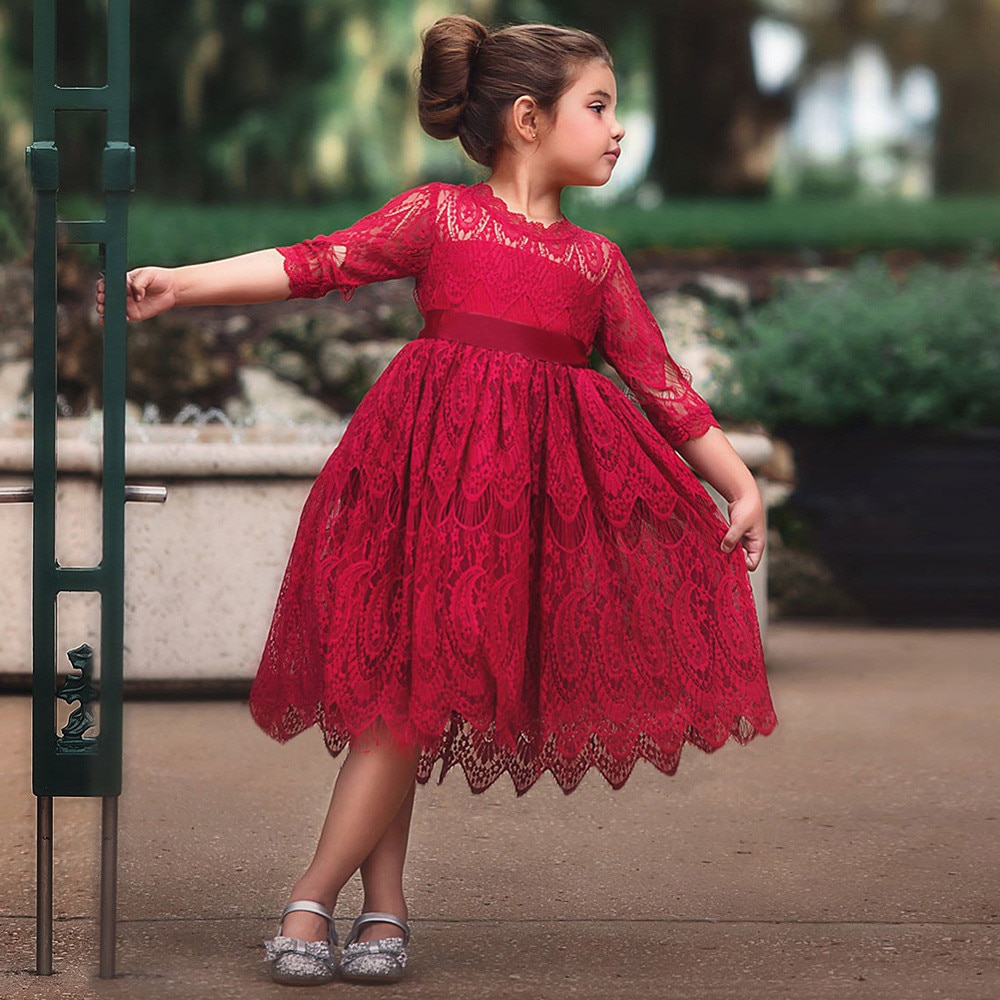 Round-neck Outfits Toddler Kids Baby Girls Half Sleeve Lace Princess Sundress Formal Dress Vestido Infantil Menina