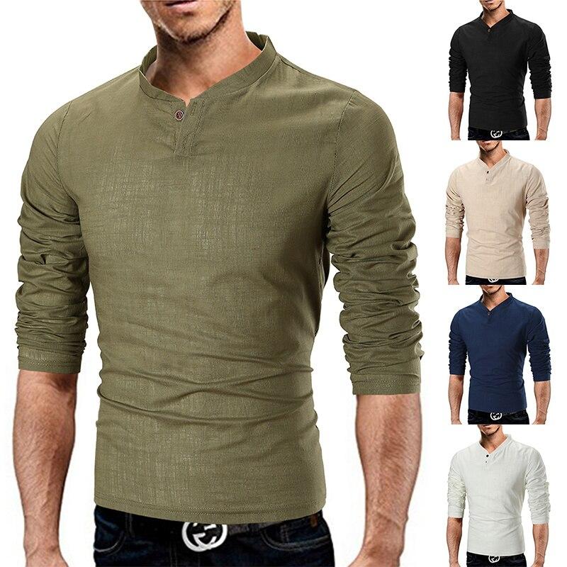 Camiseta Hombre 2019 primavera otoño nueva manga larga cuello de Enrique Camiseta Hombre marca suave algodón puro ajustado camiseta camisas M-5XL