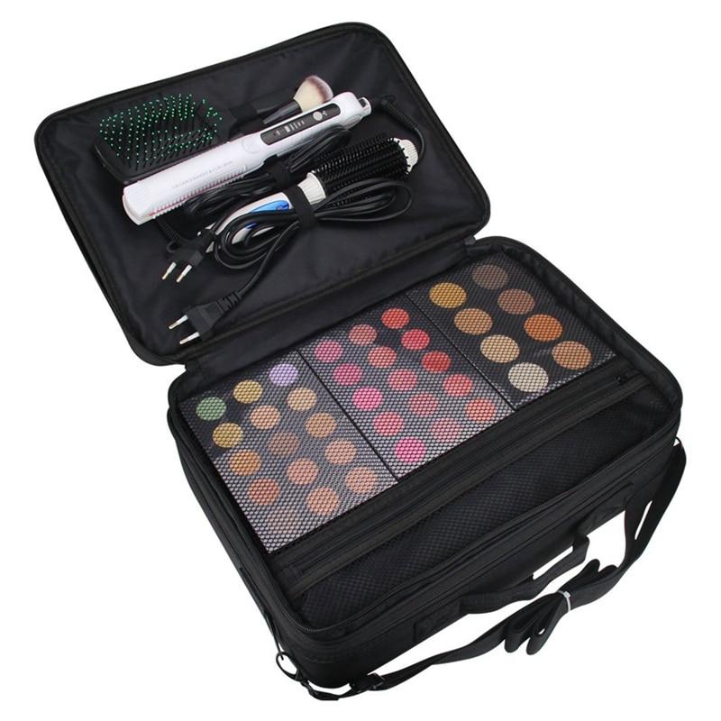 Estuche de maquillaje de gran capacidad, estuche organizador de cepillos cosméticos de 3 capas, estuche de tren de maquillaje, caja de artista de maquillaje para rizador de pelo, cabello, Stra