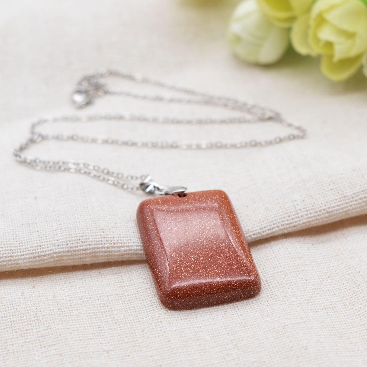 Charms Rectangular Stone Pendant Necklace for Women Men Jewellery Choker Necklaces Pendants Jewelry
