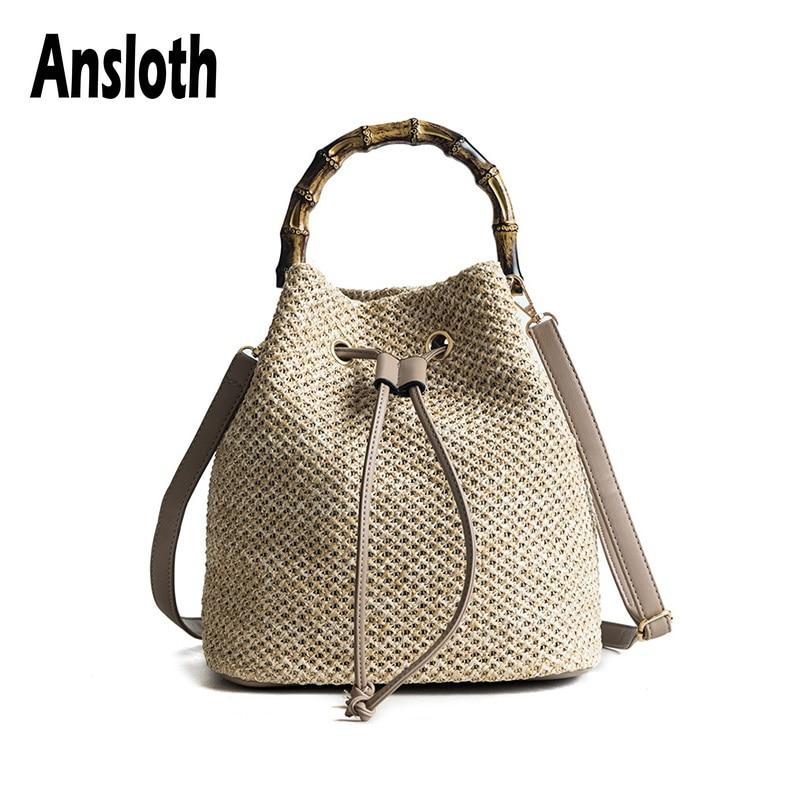 Ansloth Summer Bag For Women 2021 Rattan Bag Lady Beach Straw Bucket Bag Female Handmade Weaving Shoulder Bag Handbag HPS479