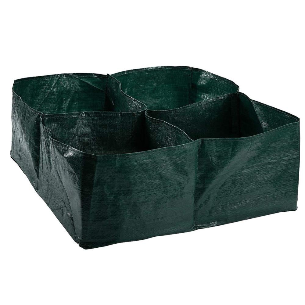 Hot Sale 4 Divided Grids Garden Planter Bed Planting Grow Bag Carrot Onion Herb Flower Vegetable Plants Pot