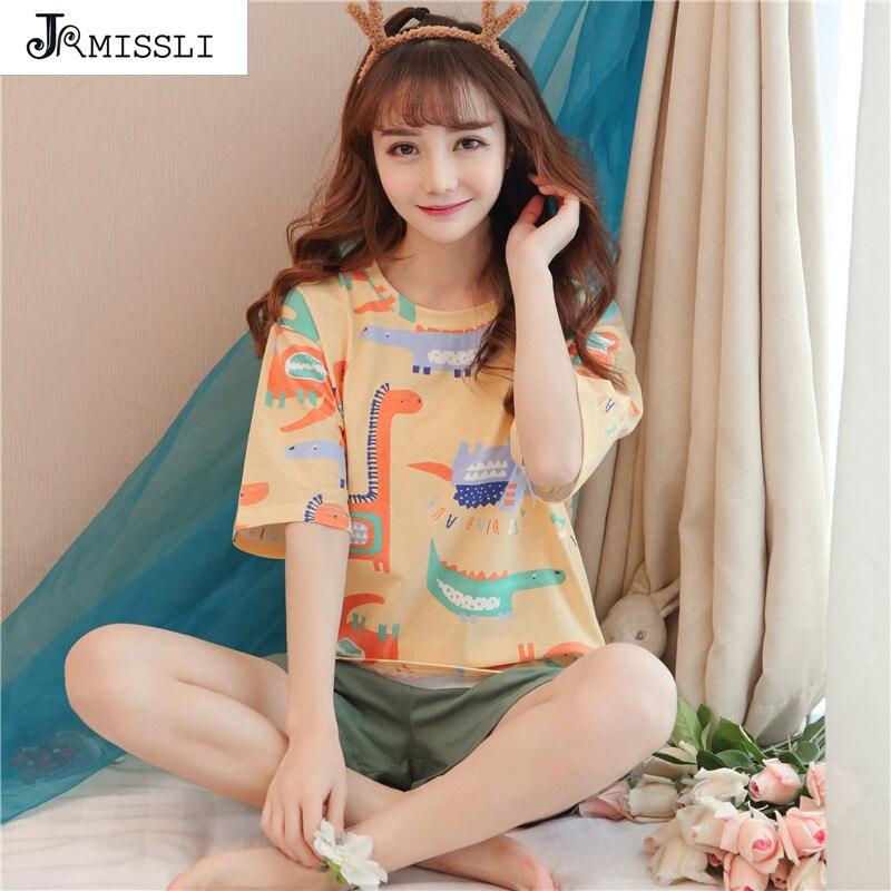 JRMISSLI verano pijamas cómodos conjunto camisón estampado lindo traje de dormir niña 100% algodón pantalones cortos Pijama