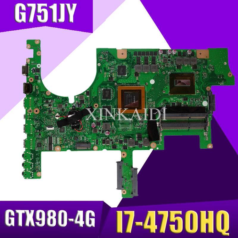 XinKaidi ROG G751JY placa base de Computadora Portátil para ASUS G751JY G751JT G751JL G751J G751Tested placa base original de I7-4750HQ GTX980-4GB