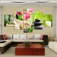 Peinture murale en pierre a fleurs imprimee  5 pieces  moderne  sans cadre