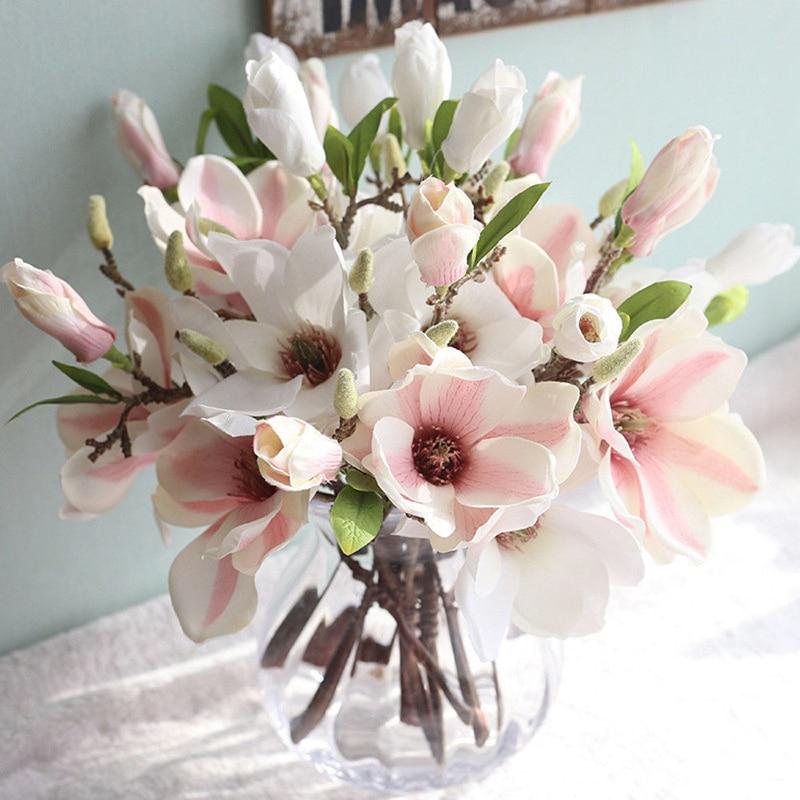 2PCs 37cm Fake Silk Magnolia Artificial Flowers Ivy Vine Hanging Garland Decor  For Home Wedding decoration