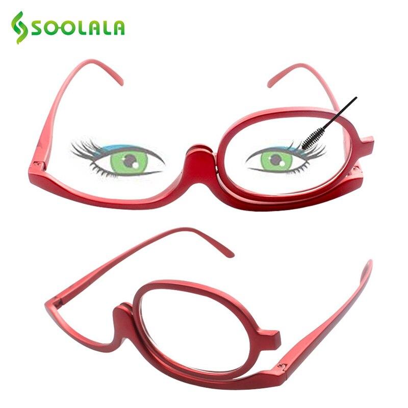 SOOLALA 180 Grad Rotierenden Make-Up Lesebrille Monokulare Kosmetik Gläser Mode Frauen Gläser mit Einem Flip Up Linsen