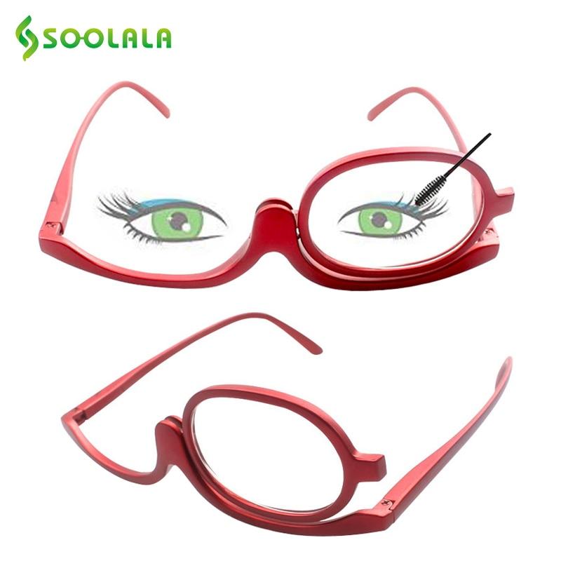 SOOLALA, maquillaje giratorio de 180 grados, gafas de lectura, monoculares, cosméticos, gafas de moda para mujer, gafas con un abatible hacia arriba, lentes