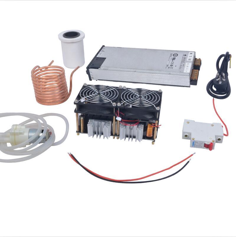 1800W Placa PCB Máquina de Aquecimento Aquecedor de Indução De Aquecimento Por Indução ZVS Derretido Mayitr + Cadinho de Metal + Bobina + Bomba + Ppower Alimentação