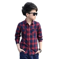 plaid shirts for boys spring tops autumn children clothing teenager outerwear kids blouse infant shirt full sleeve 5 15y clothes