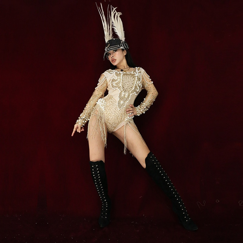X83 Singer performance vestido de escenario mujer viste dj traje dorado Rhinestone perla mono vestido para pole dance ropa Fiesta disco