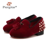 piergitar 2018 new parent child style handmade childrens loafers with tassel and spikes designs burgundy velvet kid party shoes