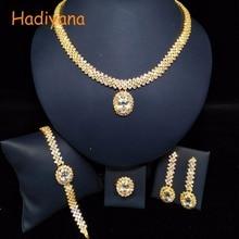 HADIYANA Classic Design Oval CZ 4pcs Sets 2 Color Wedding Bridal Jewelry Sparkling Crystal Bride Party Princess Queen BN5321