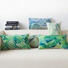 Housse de coussin Rectangle 50*30cm   Couleur nordique, géométrie, bleu et vert, coussins à rayures, décoration de la maison, canapé bâches de voiture
