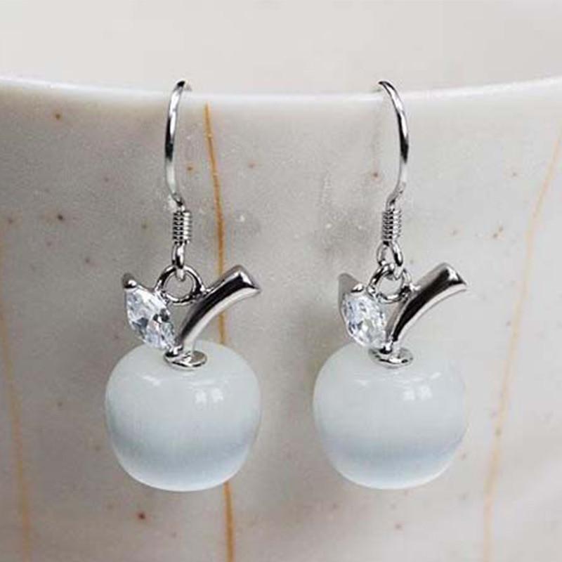 Venda quente moda adorável branco vermelho gotas opala maçã cristal balançar brincos de pedra longa brincos para as mulheres 925 jóias de prata