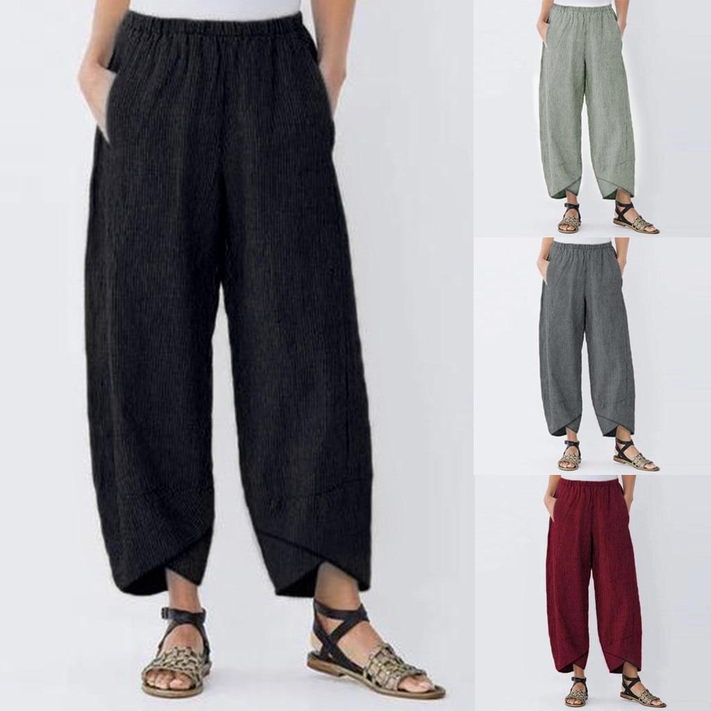 New Fashion bohemian pants Casual Solid Pocket Elastic Waist Loose Linen Pants Trousers joggingbroek vrouwen#B35