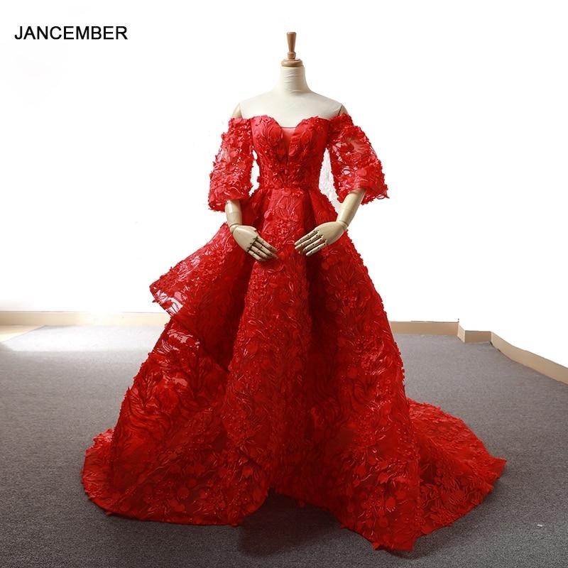 J66621 jancember braut roten abendkleid schatz hülse blumen braut hochzeit party kleid kurze zug robe rouge de soir e