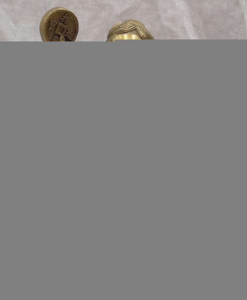 China Escultura de Bronce Riqueza Moneda Kid Niño LiHai Paseo Dorado Hoptoad Toad Estatua