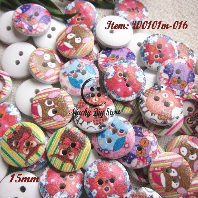 144 piezas Multicolor 15mm búho serie madera botones decorativos para manualidades y scrapbooking suministros de costura a granel