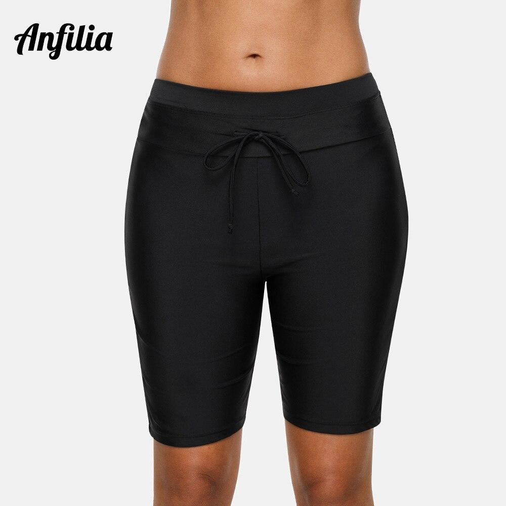 Anfilia calças de banho femininas capri, parte inferior de biquíni maiô roupa de banho ajustável fundo de natação