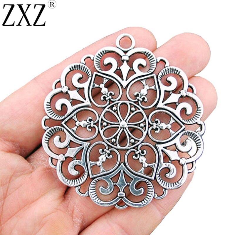 ZXZ 5 uds grandes corazones y remolino encantos de encaje colgante para collar joyería haciendo hallazgos 68x62mm