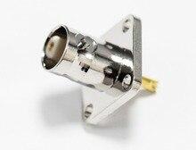 1 ST BNC vrouwelijke jack RF coax connector 4-gats paneelmontage flens met soldeer cup straight terminal NIEUWE