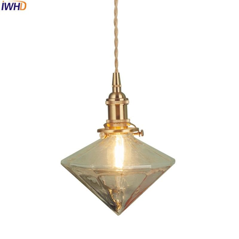 IWHD Nordic Japanese Style Brass LED Pendant Light Bar Dinning Living Room Glass Creative Vintage Lampen Luminaire Lighting