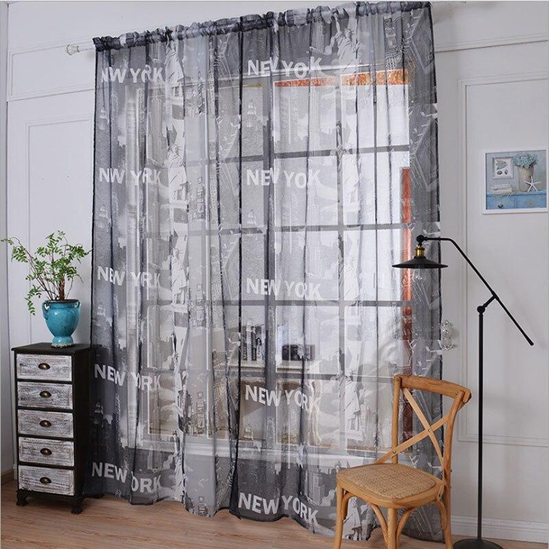 American New York Free Goddess cortina impresa cáñamo gasa cortina Sala cortinas de tul para ventana cortinas dormitorio 101
