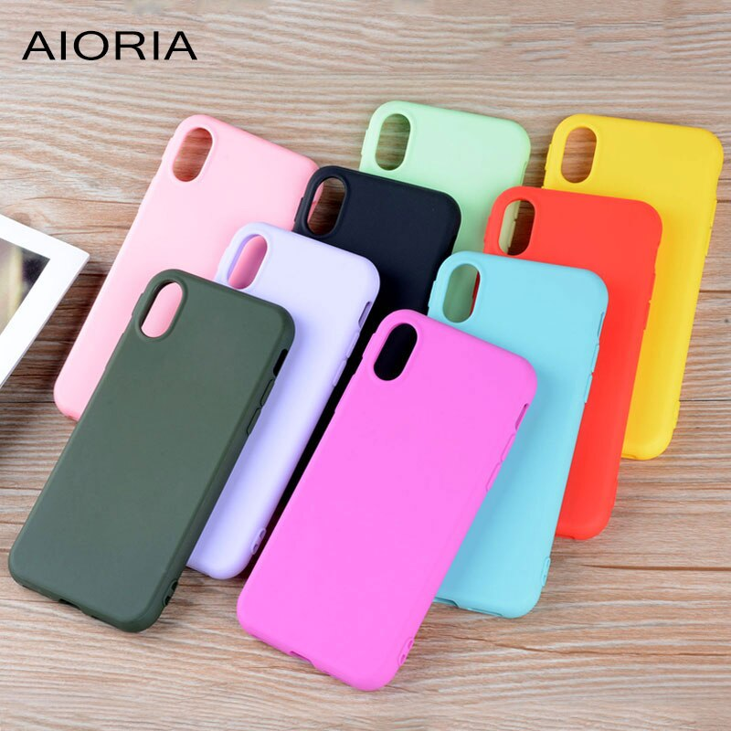 AIORIA carcasa mate para iPhone X 5,8 pulgadas material TPU de silicona unti-huella dactilar 1,2mm de espesor diseño resistente colores brillantes de caramelo