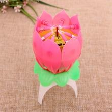 Bougies danniversaire motif fleur de Lotus   Bougies pour gâteau de fête, décoration de gâteau scintillante, musique, Candele