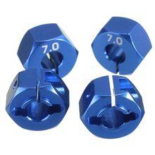 RC Alluminio Blu 7.0 Wheel Hex 12 millimetri Drive con Spilli Viti 4P HSP HPI Tamiya Ca