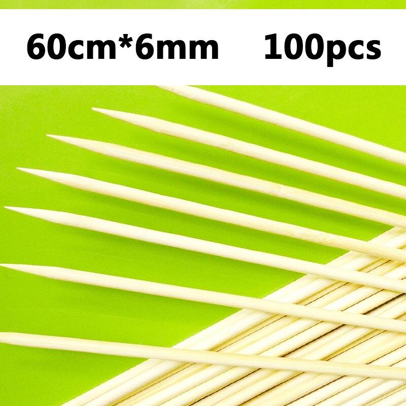60 سنتيمتر x 6 مللي متر 50-100 قطعة أسياخ خشبية طويلة ل شيش كباب تورنيدو البطاطس عود من خشب البامبو الخشب الطبيعي شواء إبرة ملصقا الشواء