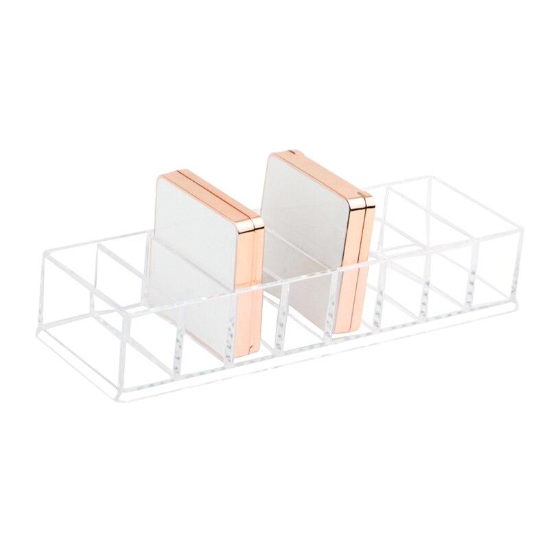 Caja de almacenamiento de polvo transparente, organizador de maquillaje, sombra de ojos, estuche organizador de cosméticos, 8 ranuras, novedad