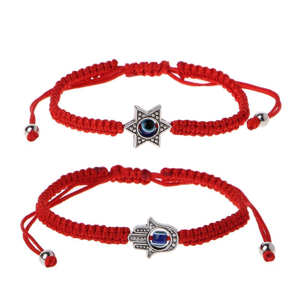 Cábala de la suerte cordel rojo pulseras Hamsa maldito azul ojo Fátima joyería de mano
