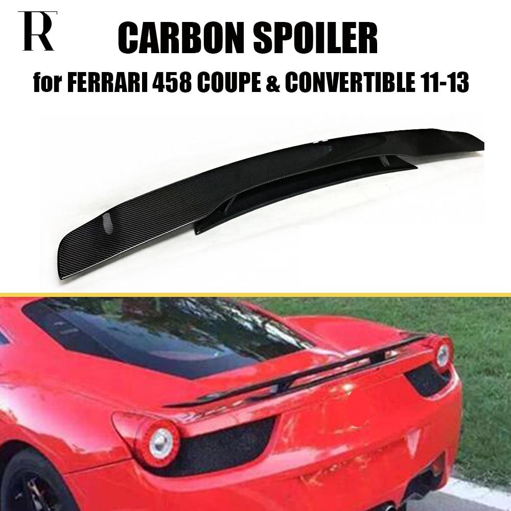 458 de fibra de carbono Alerón trasero de maletero para Ferrari 458 Coupe y Convertible 2011-2013 Auto coche de carreras estilo cola labio ala